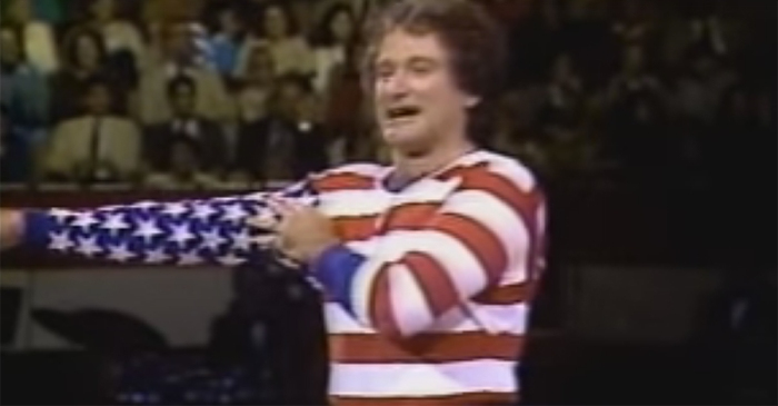 This video of Robin Williams doing comedy as the American flag will make you smile
