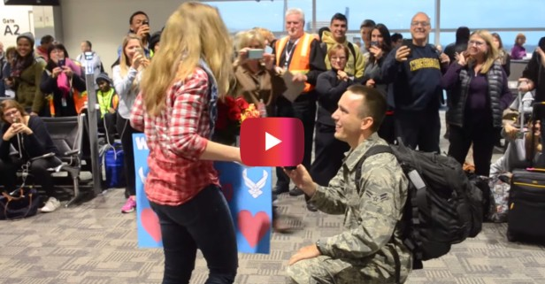 Watch this airman give his girlfriend the best Christmas surprise ever