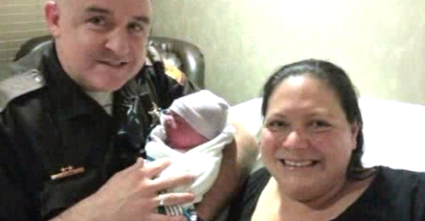 When a pregnant woman went into labor on the way to the hospital, cops helped save the day with a special delivery