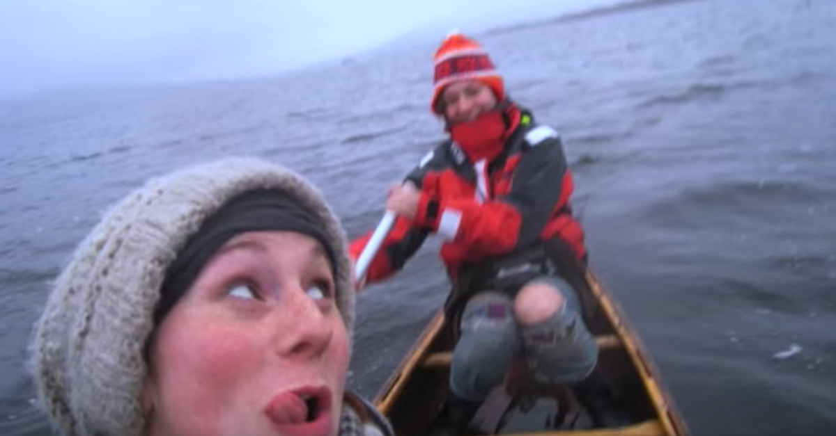 Two women were rowing peacefully in a canoe when they looked up and saw this incredible sight
