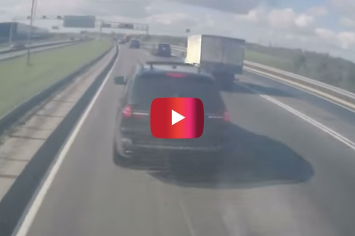 Watch as this idiot BMW X5 driver brake checks a 40-ton truck on the highway