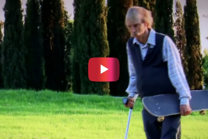 Onlookers couldn't believe this senior citizen's skateboarding moves — little did they know, there was more to the action