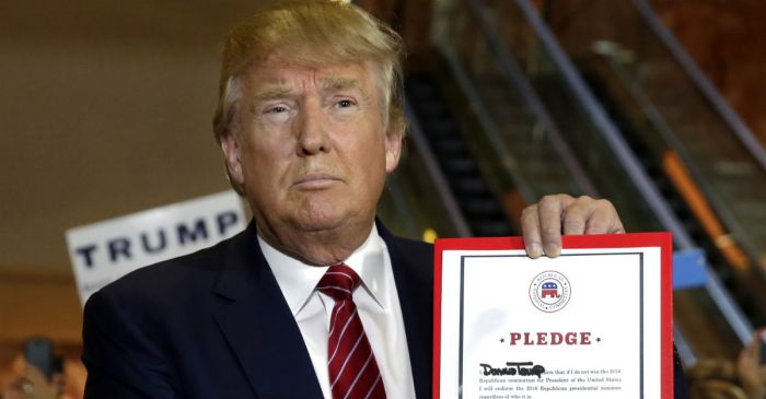 Donald Trump made a big error when he signed that Republican pledge yesterday