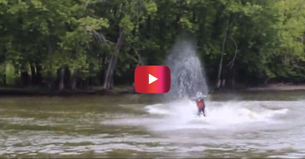 Look ma, no hands! This jet skier's impressive trick is definitely worth a round of applause
