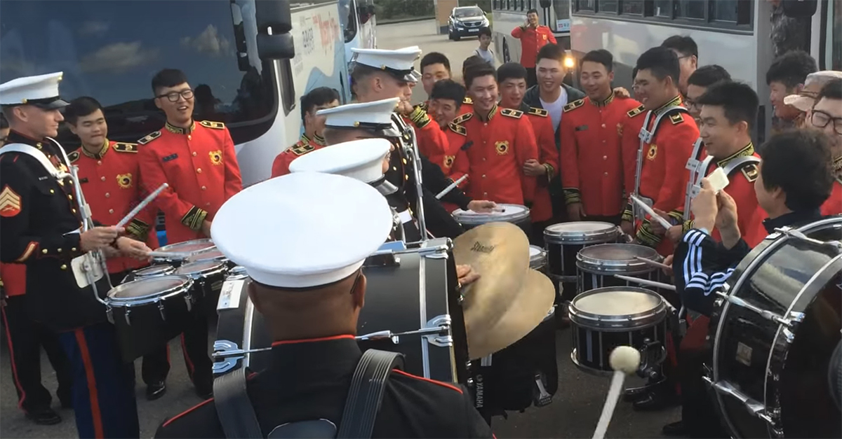 Watch this epic drum battle between a Marine Corps band and their Korean counterparts