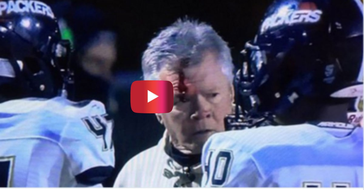 Things got out of control when a high school football coach and player went head-to-head on the sidelines