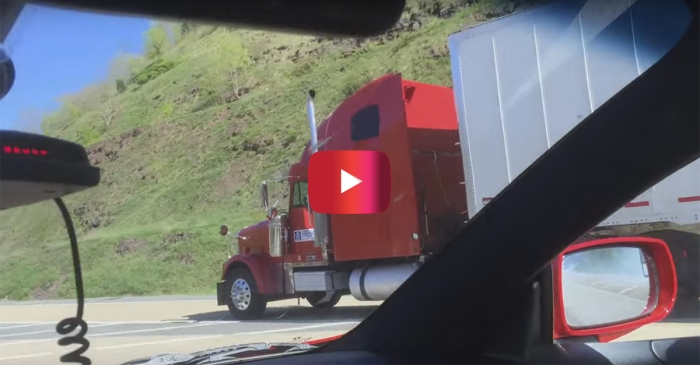 Watch as this semi-trailer truck's brakes fail and he has to use the emergency runaway truck lane