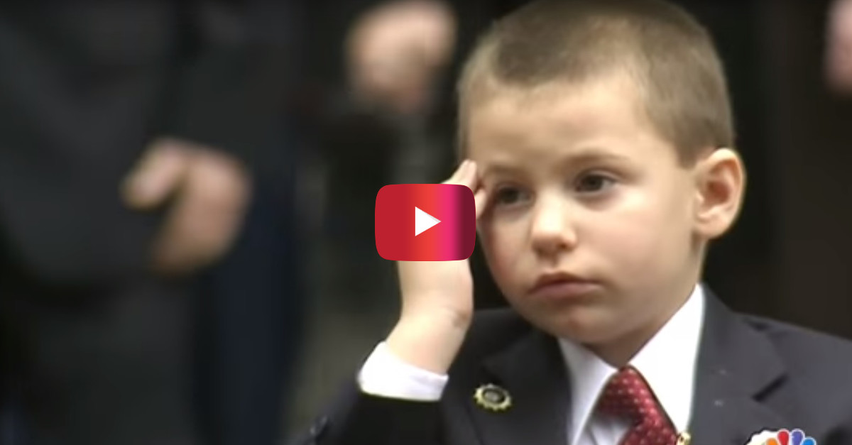 During a military funeral this 4-year-old son gave his father a touching goodbye