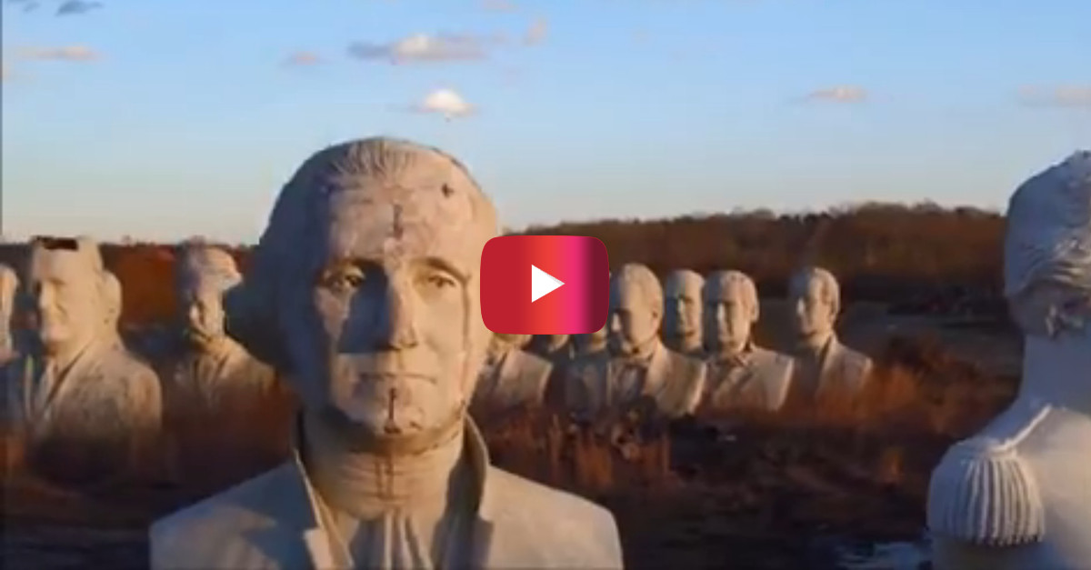 A Virginia farmer wound up with a crumbling garden of giant presidential heads, and it's eerily beautiful