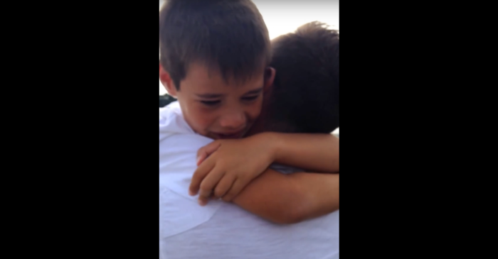 "Boy gets upset saying ""bye"" to dad at the airport — little does he know what he's hiding in the trunk"