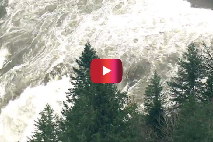 This video shows the surging Snoqualmie Falls after heavy rains inundated the area