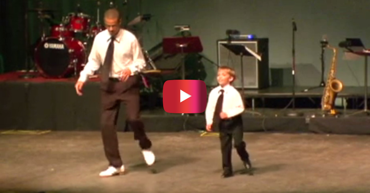 This tap dance showdown between a boy and a seasoned pro will have you begging for an encore