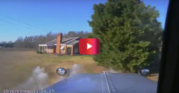 A driver ran a stop sign, hit a dump truck and caused carnage that is terrifying to watch unfold