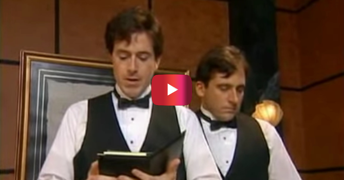 Stephen Colbert and Steve Carell are hilarious as waiters who get nauseated by food