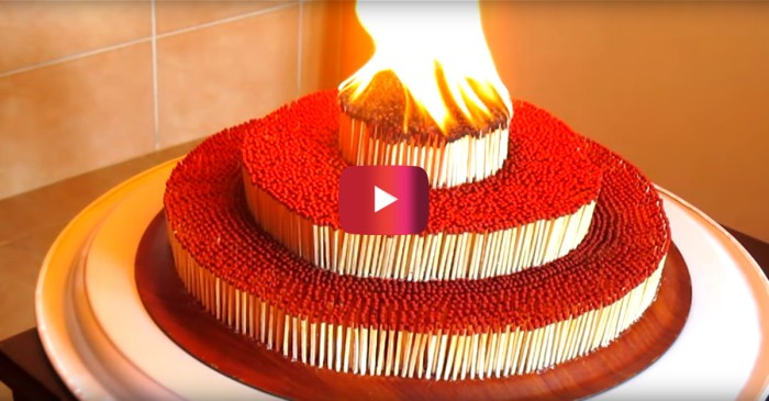 Behold: the birthday cake all pyromaniacs dream of that has everyone mesmerized