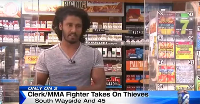 Let's watch a giant of a MMA fighter kick the crap out of idiots trying to rob his store