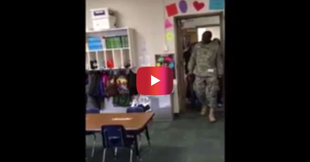 As this soldier walked in to surprise his son, he was shocked to get a surprise of his own