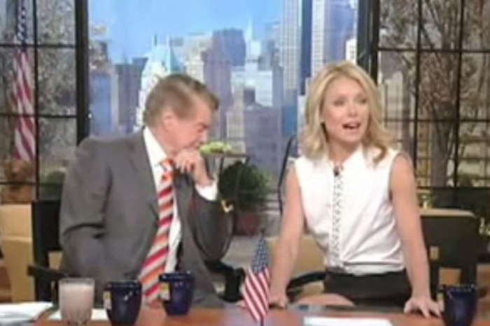 "Kelly Ripa once had a wardrobe malfunction on ""Live"" and Regis admitted he was ""enjoying it"""
