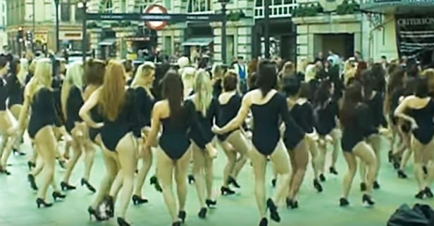 100 single ladies are stripping in the street for the GREATEST flash mob video of all time