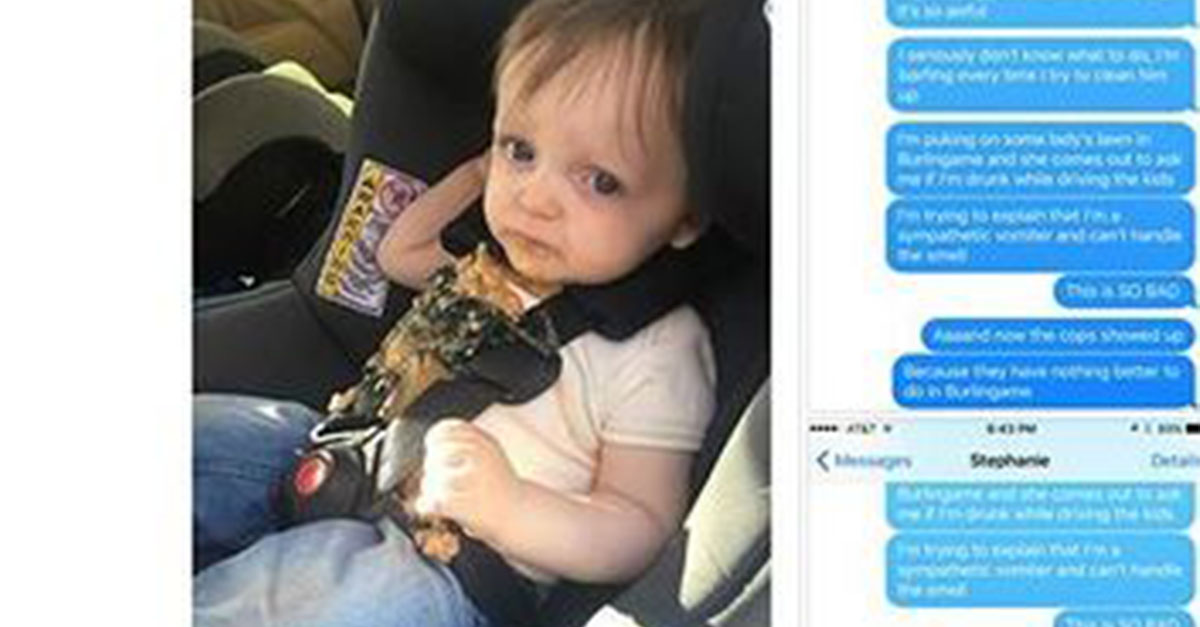 This dad just can't with his kid vomiting in the car and the hysterical texts he sent to his wife are so funny