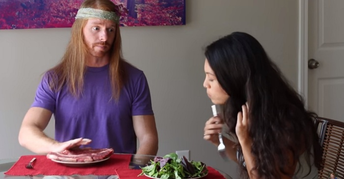 Hold the greens: Man mocks vegans with this meat-eating parody
