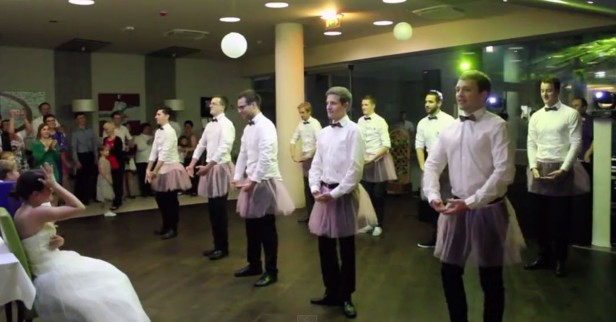 These groomsmen are about to surprise the bride with an epic dance — and the tutus are only the beginning