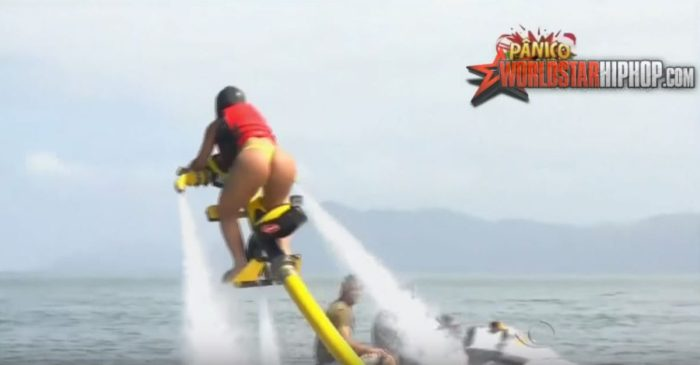 Brazilian women in thongs try riding a fly jet — guess what we're looking at?