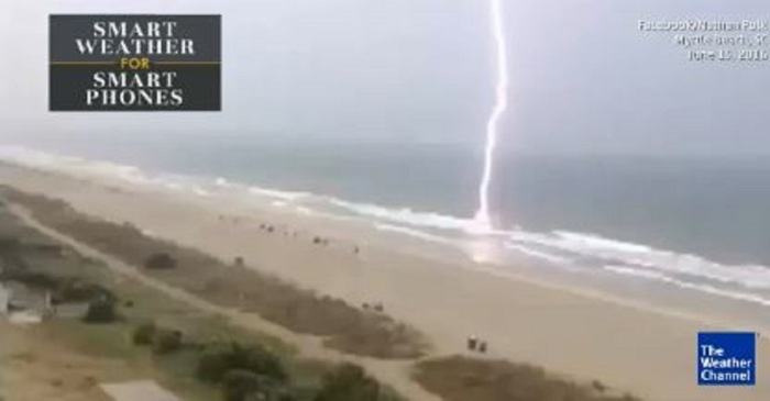 A huge lightning bolt struck South Carolina and you'll want to watch the insane footage over and over again
