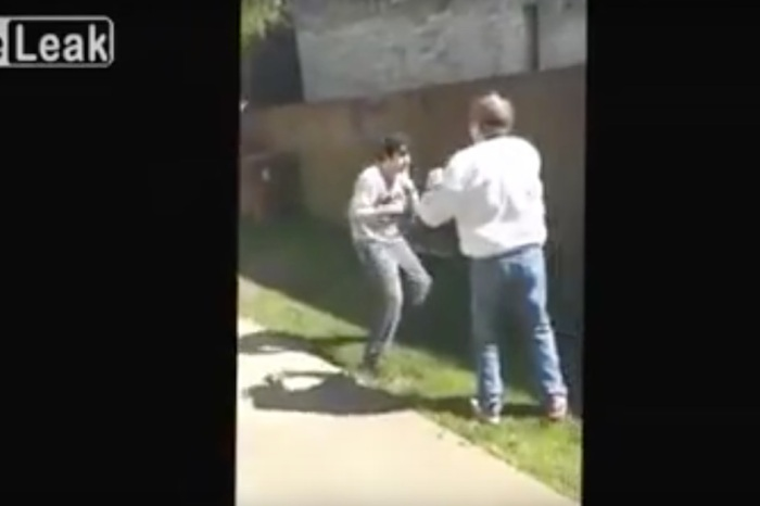 A dad taunted his teenage son into a fist fight and one huge punch put an end to all of it