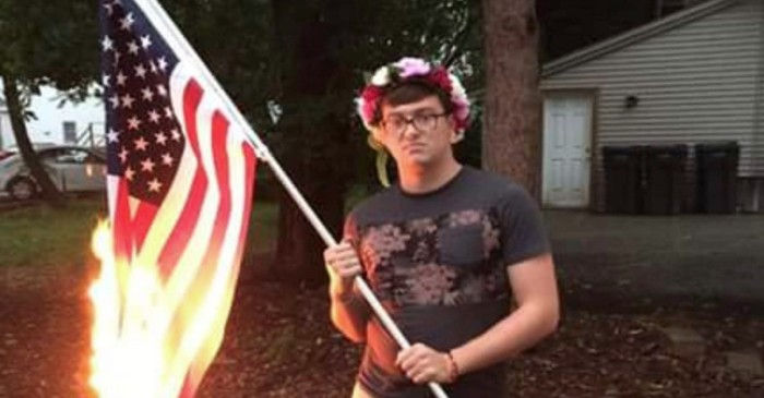 He Said He Had No Pride In His County, So He Burned the American Flag — Then Got a Knock on His Door