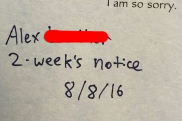 This guy managed to turn his two weeks notice into a hilarious Hallmark moment