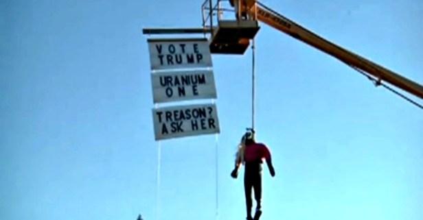 An Oregon man hung a half-dressed Hillary Clinton effigy near an interstate to get drivers' attention