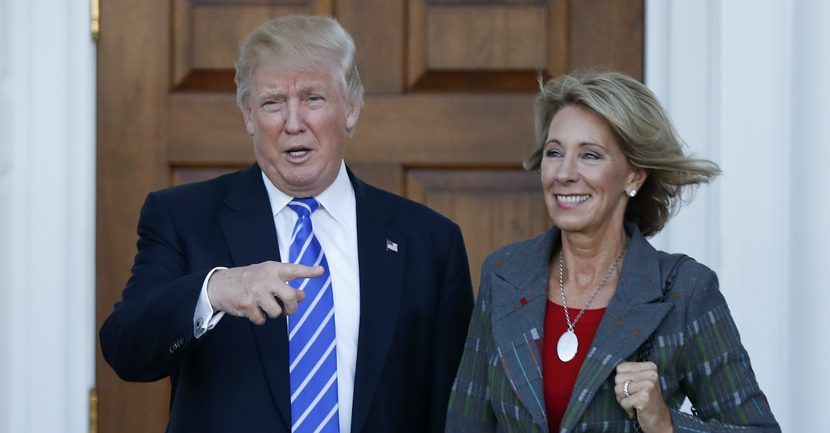 Trump should threaten to close the Education Department if the DeVos nomination is denied