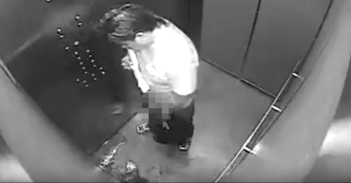 Disgusting delivery man couldn't hold it in, and elevator cam captured the whole thing