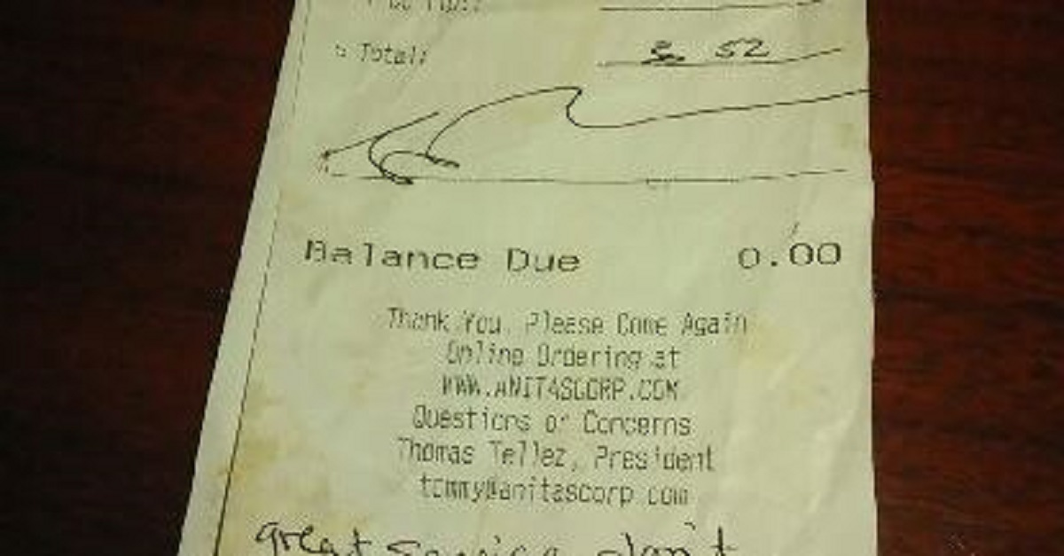 The note customers left for their waitress in lieu of tipping will make your jaw drop