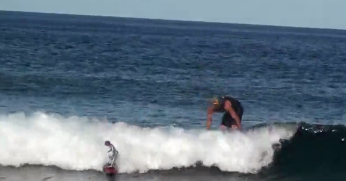 Surfer gets hilariously trolled by robot and fights back before losing splendidly