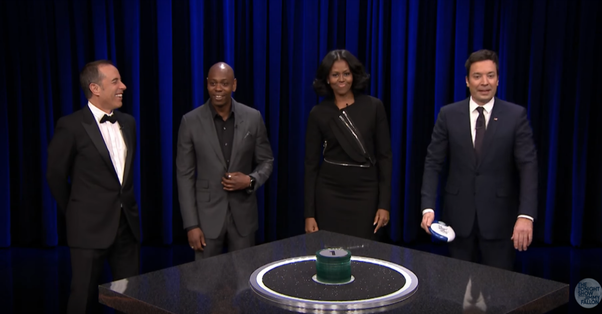 Michelle Obama, Dave Chappelle and Jerry Seinfeld join Jimmy Fallon for a hilarious game of Catchphrase
