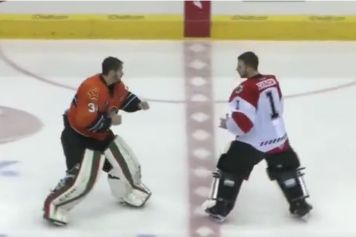 Minor league goalie didn't know what he was getting himself into in this hockey fight