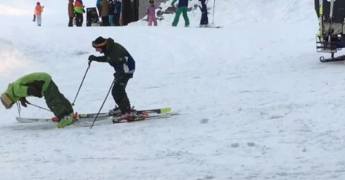 Try as he might, this drunk skier just couldn't stay on his feet long enough to hit the slopes