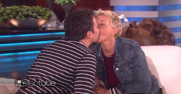 "Watch Jimmy Fallon smooch Ellen DeGeneres in the weirdest way possible during a game of ""Speak Out"""