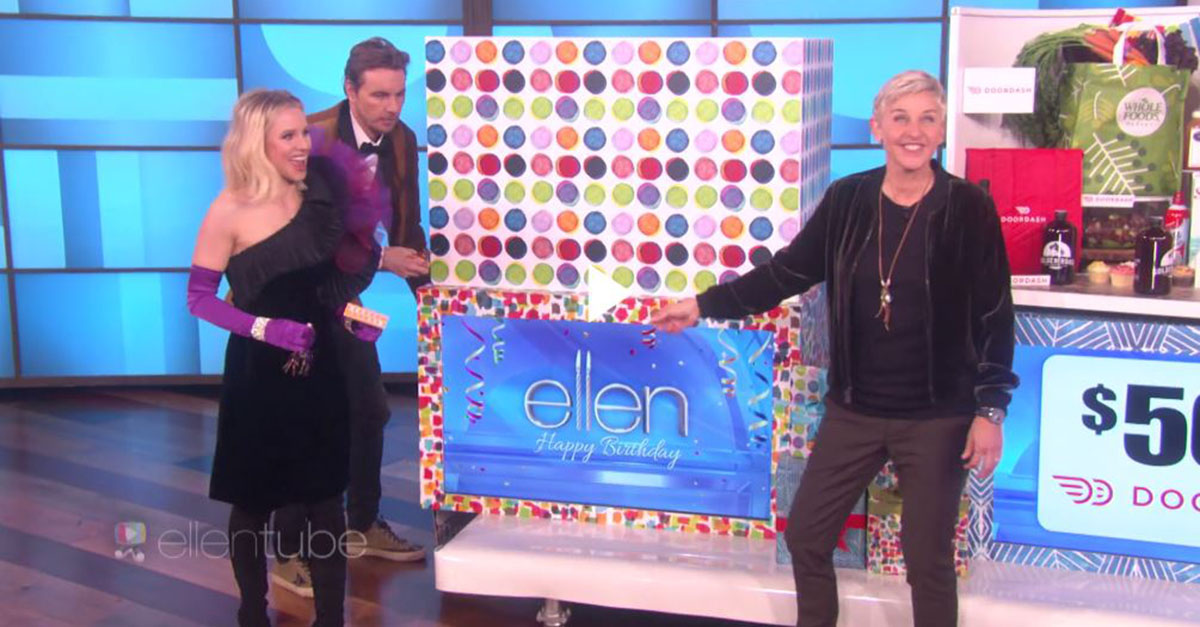 It might be Ellen's birthday, but she's not the one going home with a bunch of gifts