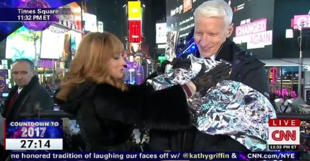 "Hilarity ensued when Kathy Griffin and Anderson Cooper celebrated their ""tin"" year anniversary"