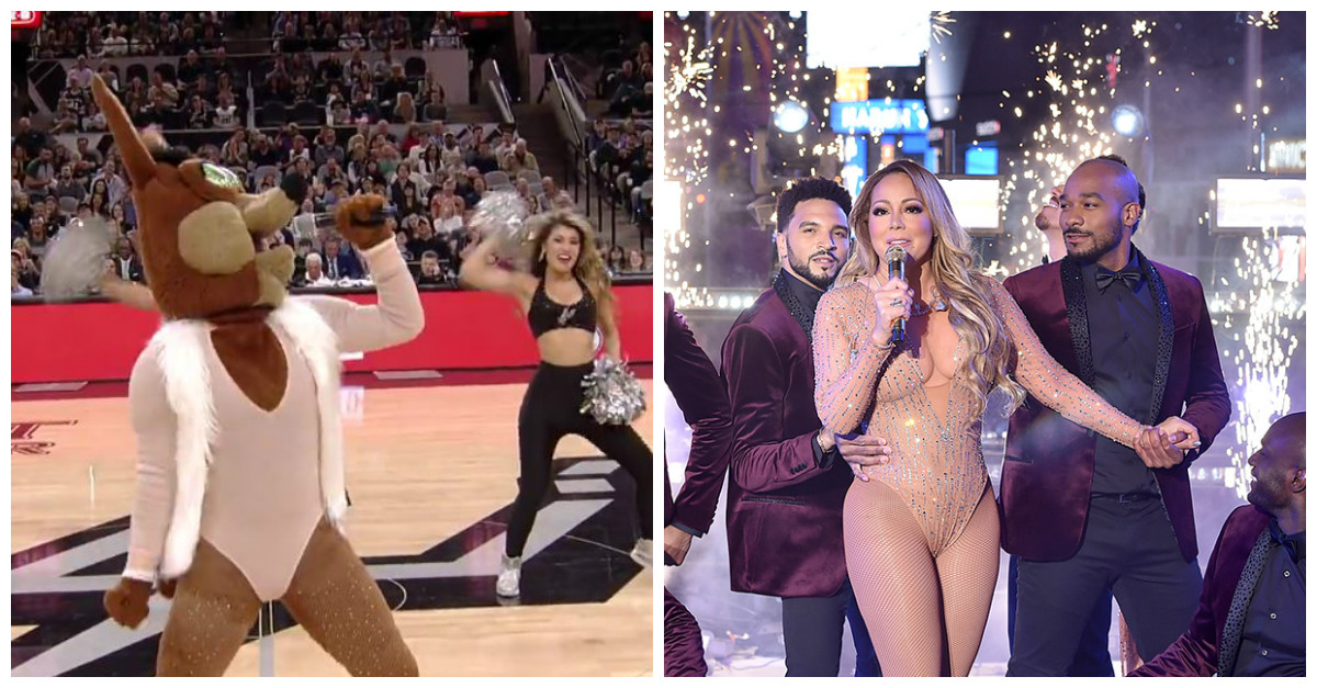 San Antonio Spurs fans couldn't handle it when the mascot made fun of Mariah Carey's embarrassing New Year's Eve performance