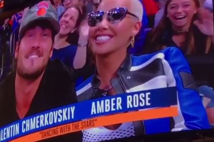 Val Chmerkovskiy and Amber Rose packed on the PDA after they were spotted by the Kiss Cam at a basketball game