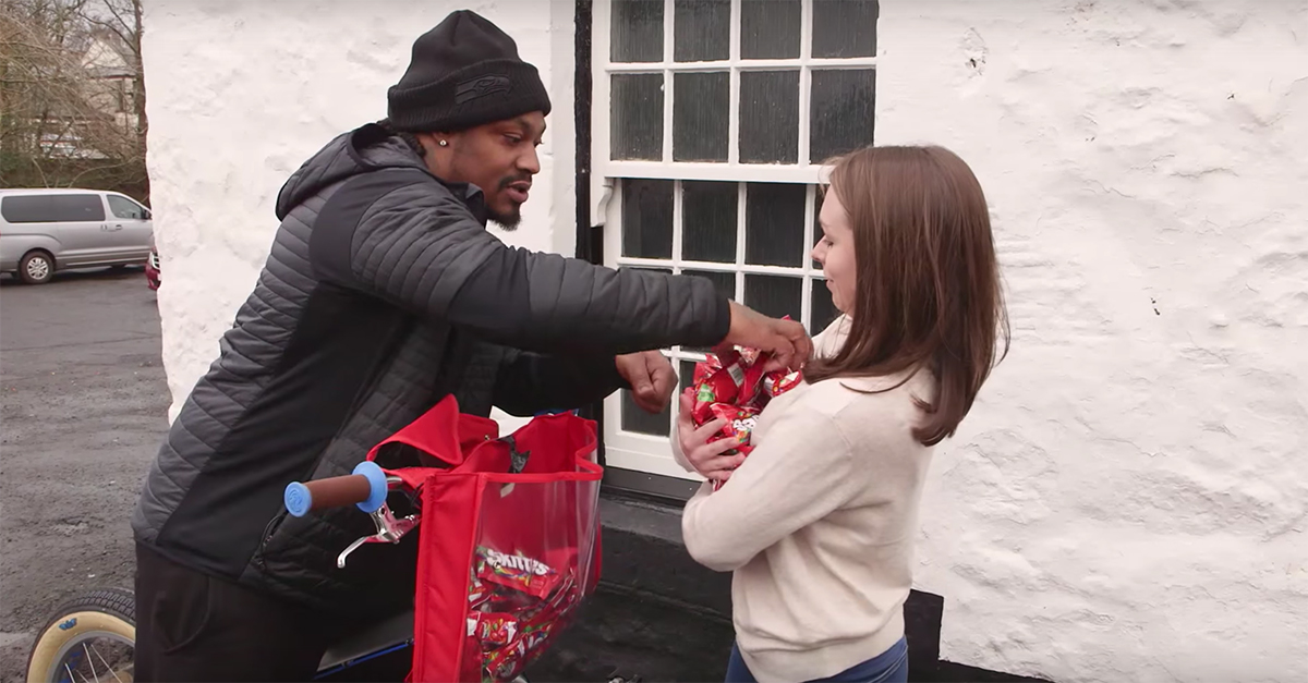 Marshawn Lynch travels to Houston — nope, not our Houston — to bring the joy of Skittles to the Scots
