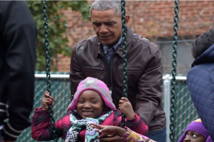 The Obamas visited the shelter where their daughters' swing set was donated