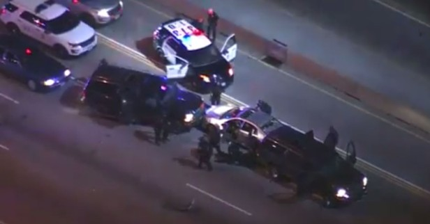 Watch the moment car-crushing armored vehicles ended a long freeway chase and an LAPD K-9 toppled a suspect
