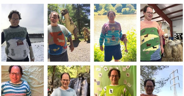 This creative adventurer has a custom sweater for every occasion