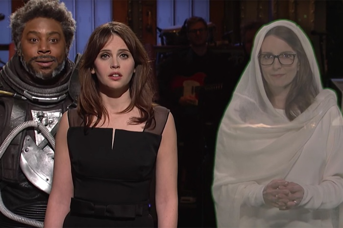 "Felicity Jones goes ""Rogue"" on ""SNL"" with some help from a holographic Princess Tina Fey"