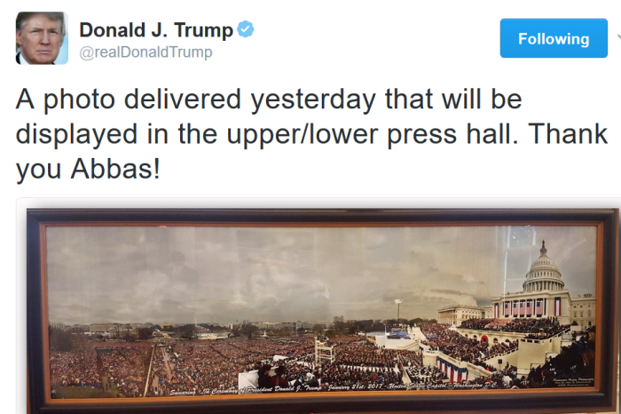 Trump is still talking about crowd size, and he just memorialized it in a pretty embarrassing way